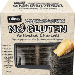 Olina's No Gluten Activated Charcoal Wafer Crackers