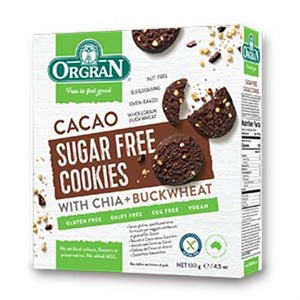 Orgran Cacao Sugar Free Cookies with Chia and Buckwheat.