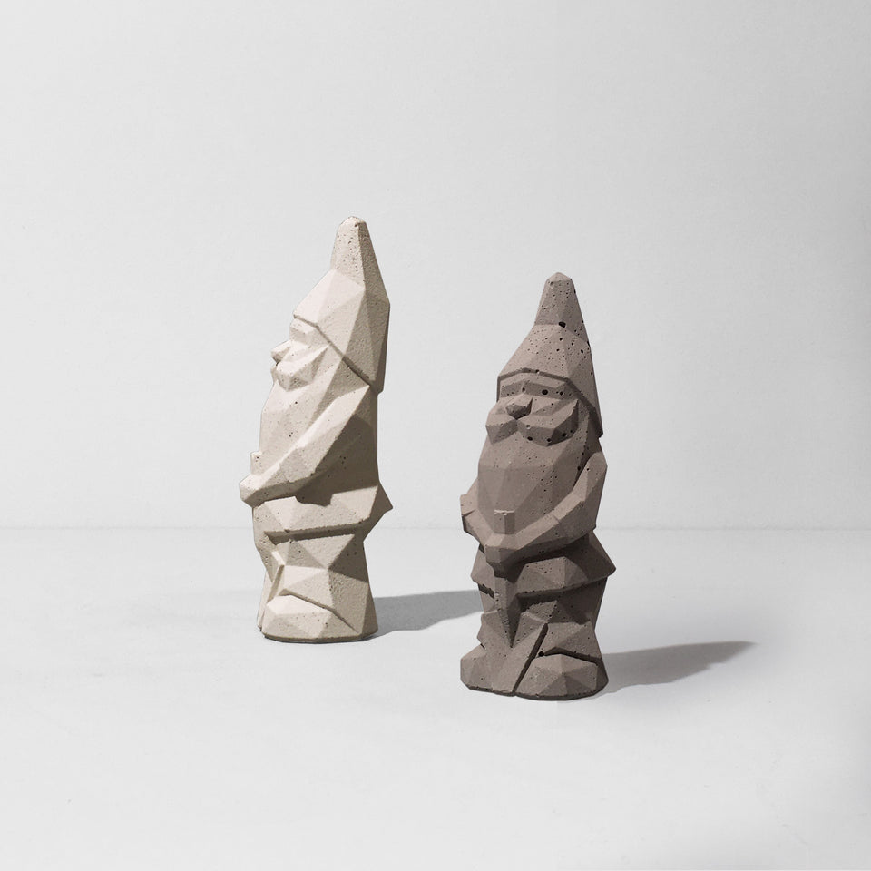 Set of 2 Nino Garden Gnomes Mini Special Deal White and Grey