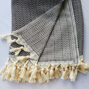 Turkish Throw - Black White Clusters Bold