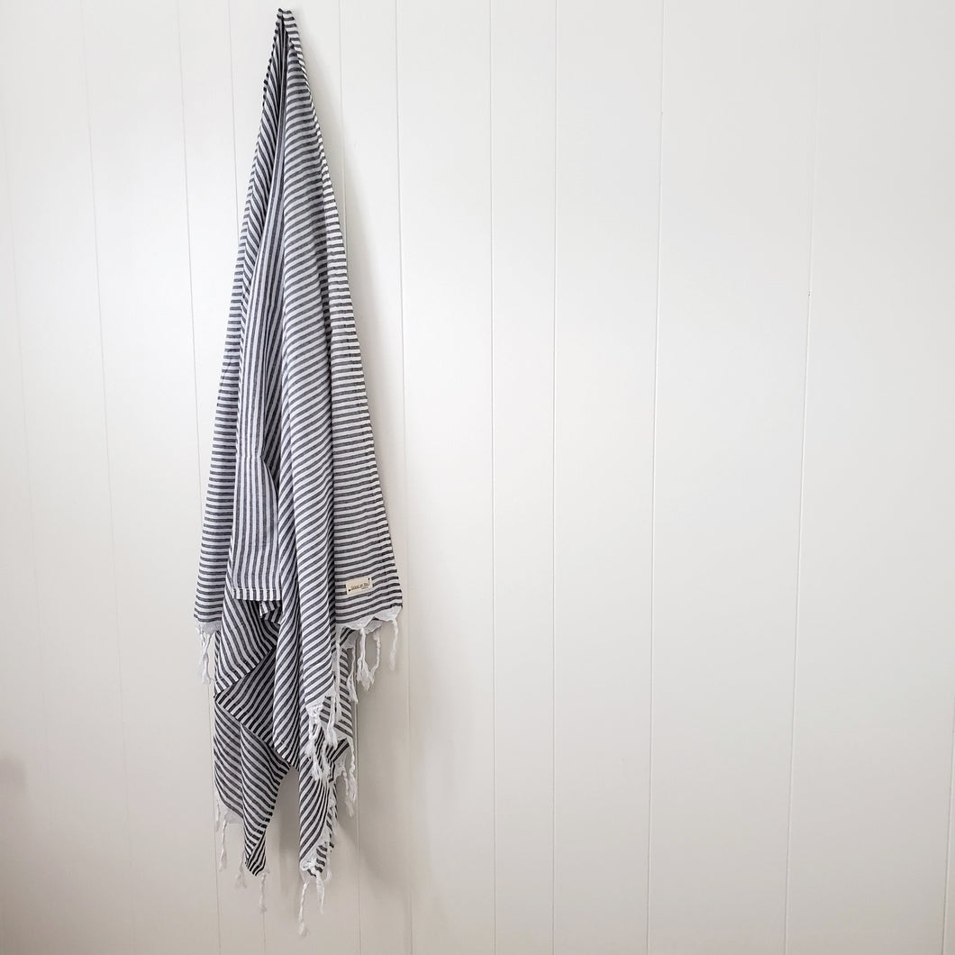 Turkish Towel - White +Charcoal
