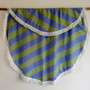 Round Turkish Towel - Green & Blue