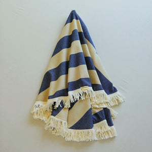 Round Turkish Towel - Navy & Natural