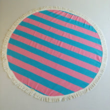 Round Turkish Towel - Bubble Gum Pink & Sky Blue