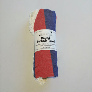 Round Turkish Towel - Red & Navy
