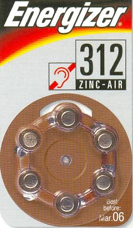 AC312 - 1,4V  hearing aid battery