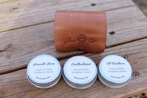 Leather Carrying Case with Mustache & Beard Wax Sampler