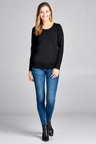 Image of Ladies fashion long sleeve crew neck classic sweater