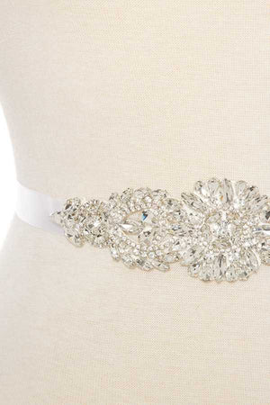 Faceted floral marquise sash belt