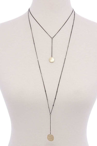 Image of Hammered disc pendant drop layered necklace