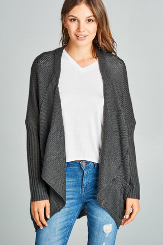 Image of Long sleeve open drape knit sweater cardigan w/ pocket