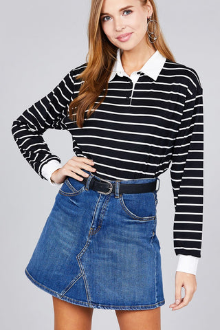 Image of Ladies fashion plus size long sleeve striped dty brushed shirts