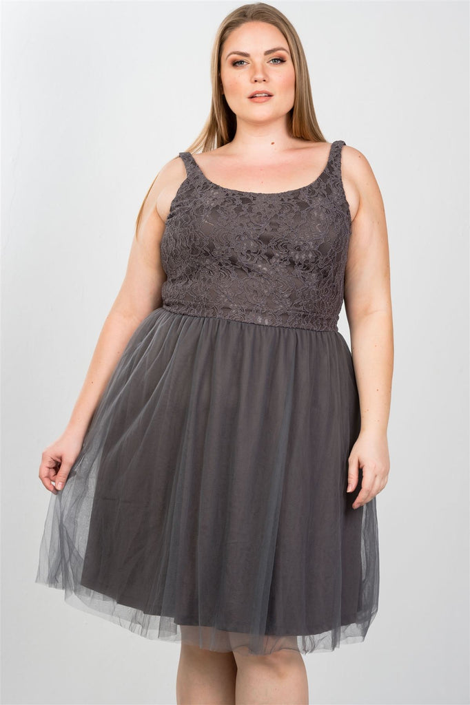 9b60d362a7 Ladies fashion plus size lace top midi dress with tulle skirt. Hover to zoom