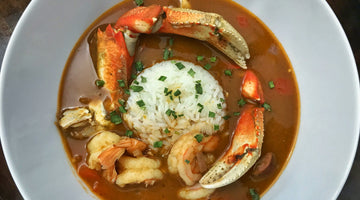 Roux based Seafood Gumbo with Dungeness Crab, Shrimp and Smoked Sausage