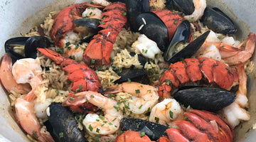 Seafood Rice (kinda like Paella) with Lobster, Shrimp, Mussels and Smoked Sausauge