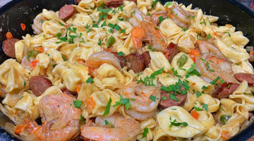 Garlic Pepper Shrimp with Three Cheese Tortellini and Andouille Sausage