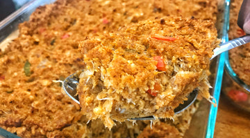 Deviled Crab Corn Bread Dressing with Chilau Sauce