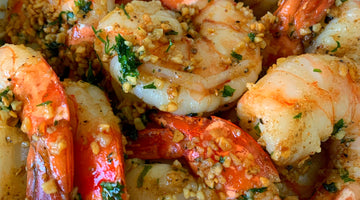 Garlic Pepper Shrimp Scampi on the grill