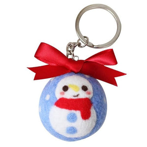 Handmade Wool Felt Poked Keychain Needle Material Bag Kit for DIY Christmas Ball Weaving Needlework Spinning Craft