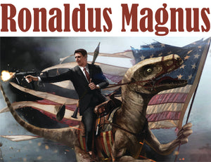 Ronaldus Magnus - Reagan Riding Dinosaur  - T-Shirt