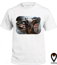Load image into Gallery viewer, Reagan Riding Dinosaur  - T-Shirt