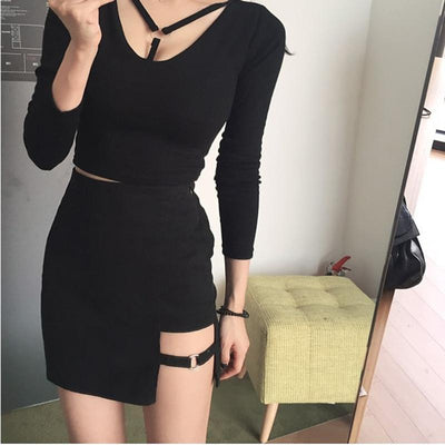 Asymmetrical High Waist Mini Skirt - GOTAMOCHI KPOP BTS MERCH KAWAII Shop -