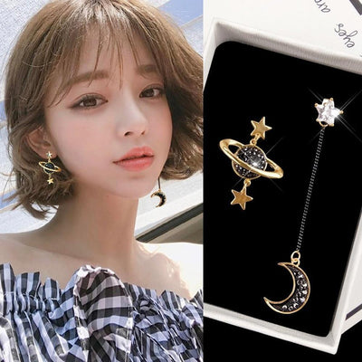 Asymmetrical Star and Moon Earrings Harajuku Jewelry Gotamochi BTS MERCH BT21 MERCH KAWAII STORE