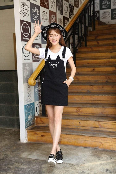 Black Kawaii Neko Kitty Cat Suspender Dress Gotamochi BTS MERCH BT21 MERCH KAWAII STORE