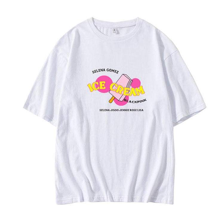 BLACKPINK 'Ice Cream' Design T-shirt A / BLACK / 2XL Gotamochi BTS MERCH BT21 MERCH KAWAII STORE