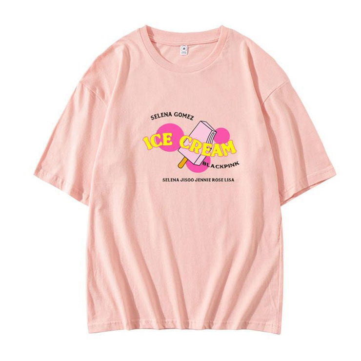 BLACKPINK 'Ice Cream' Design T-shirt A / PINK / S Gotamochi BTS MERCH BT21 MERCH KAWAII STORE