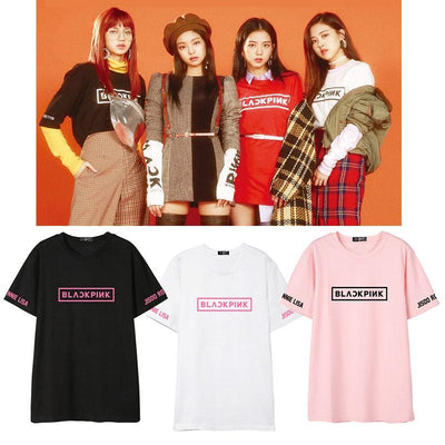 BLACKPINK Official Logo Sleeve Member T-shirt Gotamochi BTS MERCH BT21 MERCH KAWAII STORE