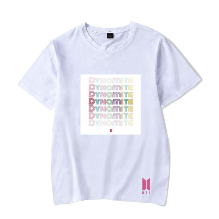 BTS Album DYNAMITE T-shirt S / White / D Gotamochi BTS MERCH BT21 MERCH KAWAII STORE