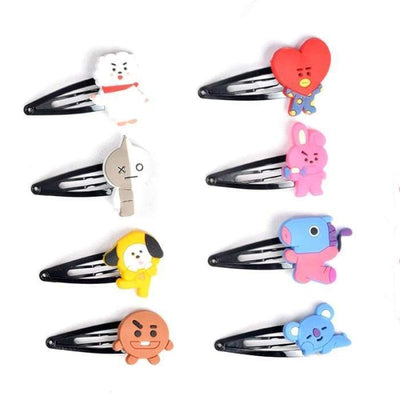 BTS BT21 Character Hair Clip SET OF 8 (SAVE 20%) Gotamochi BTS MERCH BT21 MERCH KAWAII STORE