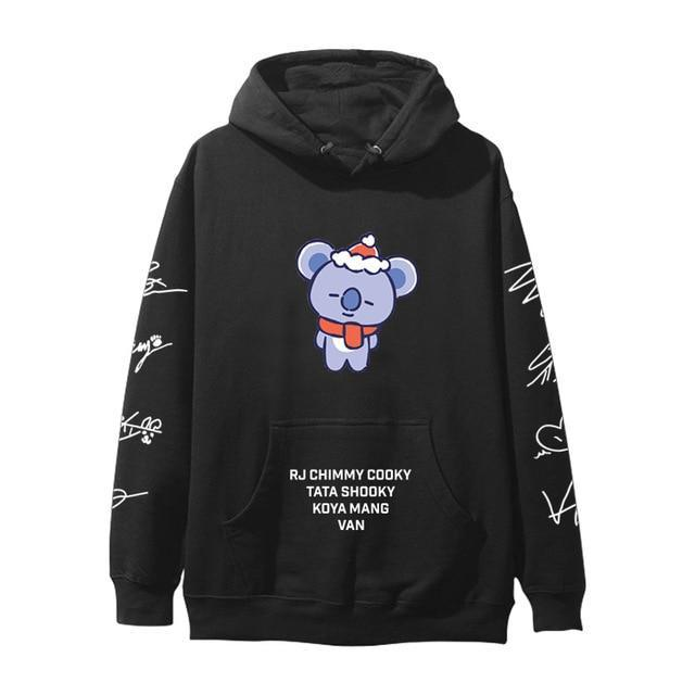 BTS BT21 Christmas Special Edition Hoodie Black Koya / XXS Gotamochi BTS MERCH BT21 MERCH KAWAII STORE