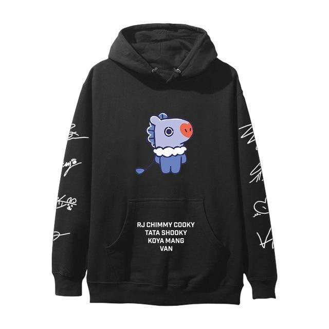 BTS BT21 Christmas Special Edition Hoodie Black Mang / XXS Gotamochi BTS MERCH BT21 MERCH KAWAII STORE