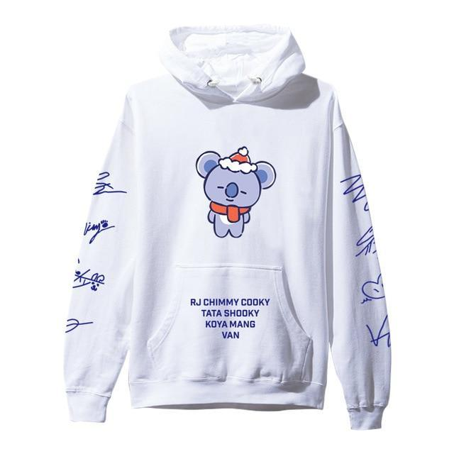 BTS BT21 Christmas Special Edition Hoodie White Koya / XXS Gotamochi BTS MERCH BT21 MERCH KAWAII STORE