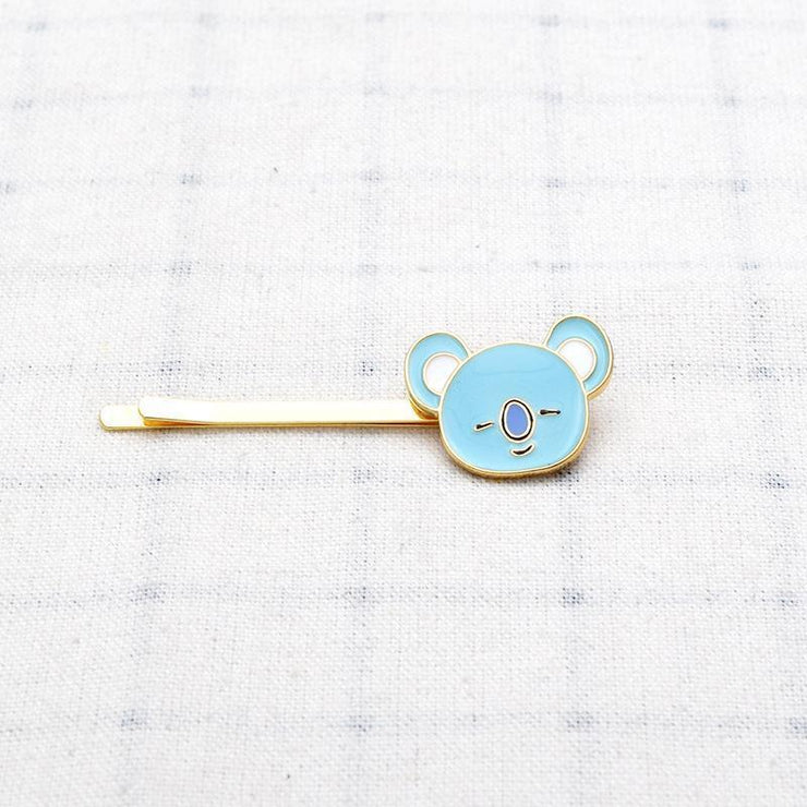 BTS BT21 Cute Character Hair Clip Pin KOYA Gotamochi BTS MERCH BT21 MERCH KAWAII STORE