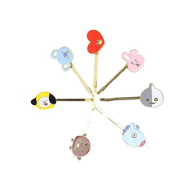 BTS BT21 Cute Character Hair Clip Pin SET OF 8 (SAVE 20%) Gotamochi BTS MERCH BT21 MERCH KAWAII STORE