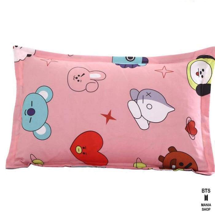 BTS BT21 Design Pink Bed Cover + Sheet + Pillowcase Gotamochi BTS MERCH BT21 MERCH KAWAII STORE