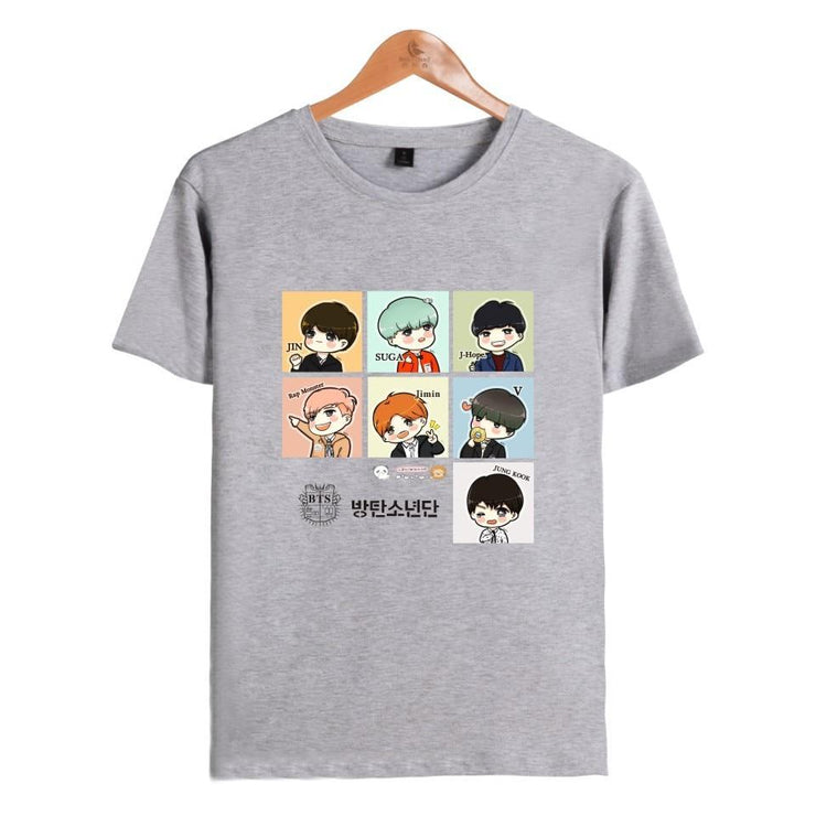 BTS Cartoon ARMY Tee Grey / XL Gotamochi BTS MERCH BT21 MERCH KAWAII STORE