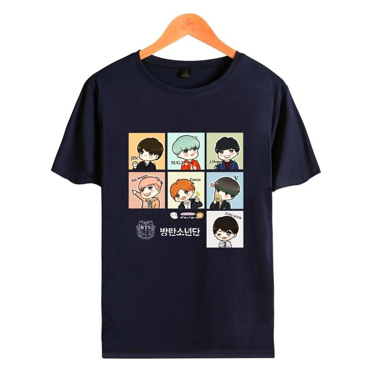 BTS Cartoon ARMY Tee Navy Blue / XL Gotamochi BTS MERCH BT21 MERCH KAWAII STORE