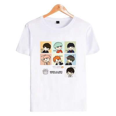 BTS Cartoon ARMY Tee - GOTAMOCHI KPOP BTS MERCH KAWAII Shop -