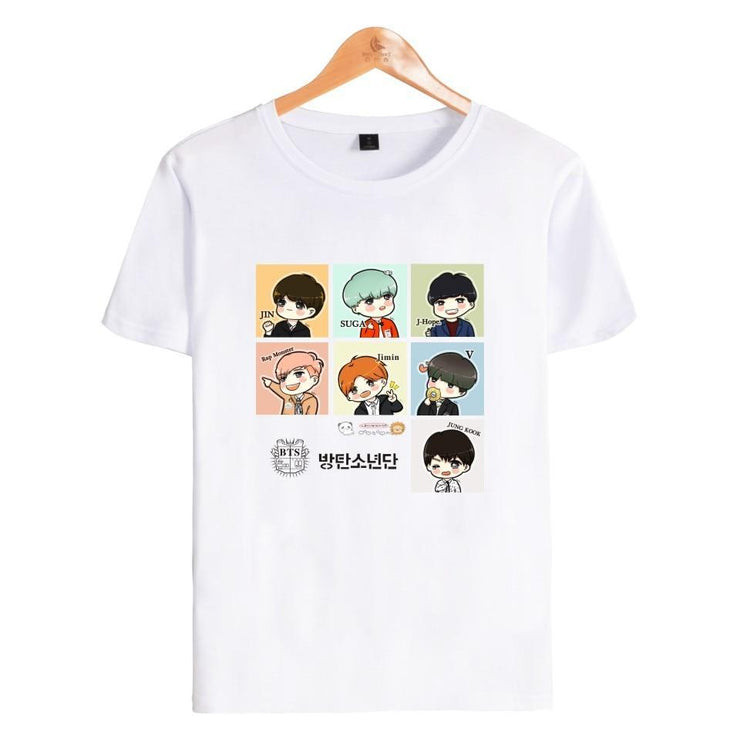 BTS Cartoon ARMY Tee White / XL Gotamochi BTS MERCH BT21 MERCH KAWAII STORE