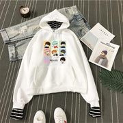 BTS Cartoon Bias Stripes Layered Hoodie Gotamochi BTS MERCH BT21 MERCH KAWAII STORE