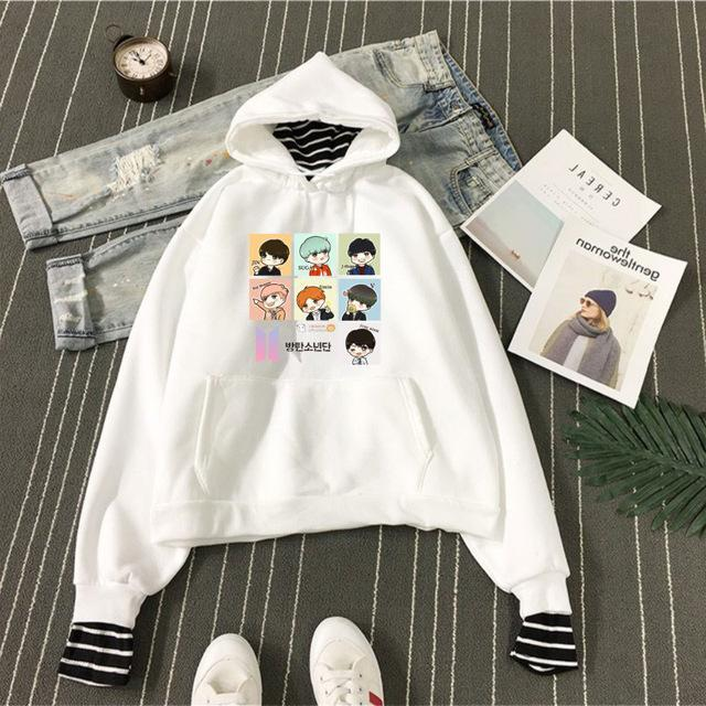 BTS Cartoon Bias Stripes Layered Hoodie Blue / S Gotamochi BTS MERCH BT21 MERCH KAWAII STORE