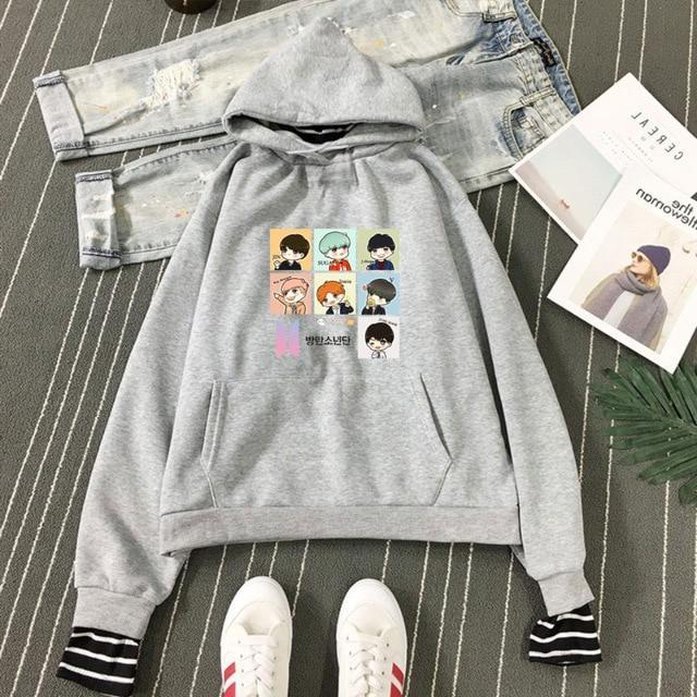 BTS Cartoon Bias Stripes Layered Hoodie Gray / S Gotamochi BTS MERCH BT21 MERCH KAWAII STORE