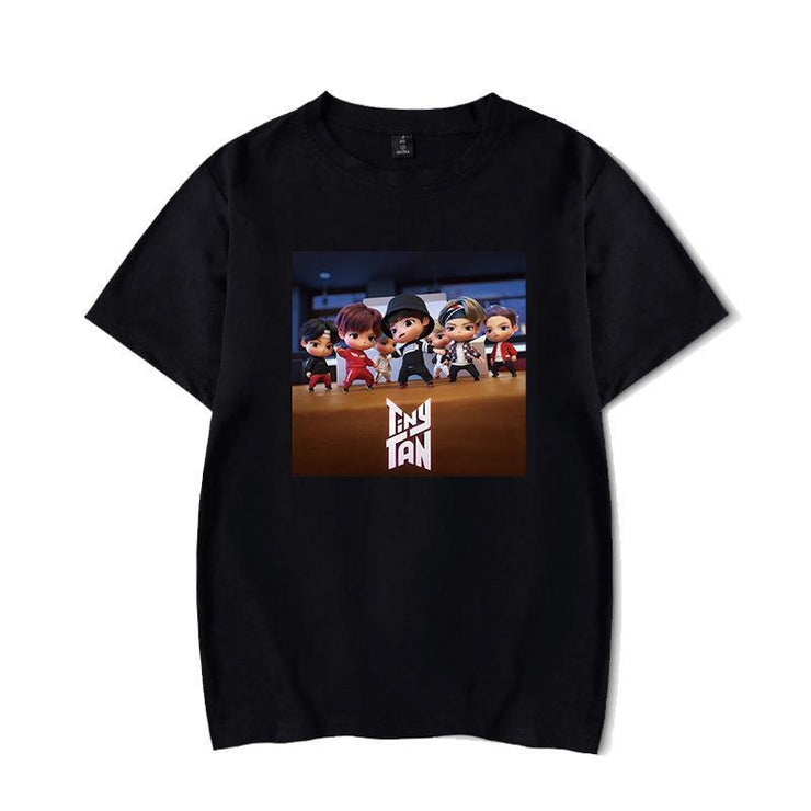 BTS Character TinyTAN Concept T-shirt A / BLACK / S Gotamochi BTS MERCH BT21 MERCH KAWAII STORE