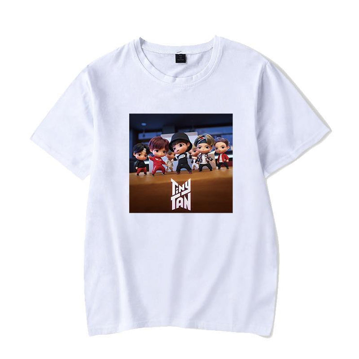 BTS Character TinyTAN Concept T-shirt A / WHITE / S Gotamochi BTS MERCH BT21 MERCH KAWAII STORE