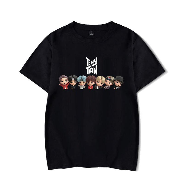 BTS Character TinyTAN Concept T-shirt B / BLACK / S Gotamochi BTS MERCH BT21 MERCH KAWAII STORE
