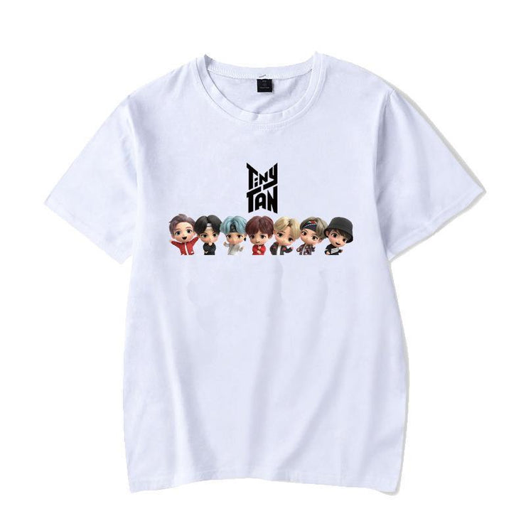 BTS Character TinyTAN Concept T-shirt B / WHITE / S Gotamochi BTS MERCH BT21 MERCH KAWAII STORE